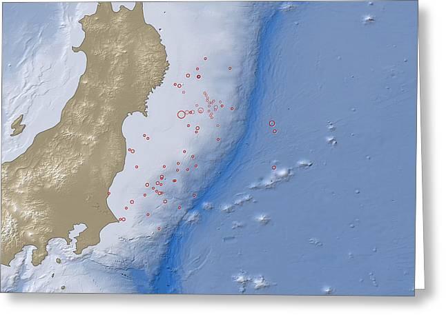 Aftershock Greeting Cards - Earthquake And Tsunami Near Sendai Greeting Card by National Aeronautics and Space Administration