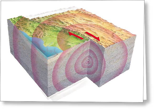 The Big Three Greeting Cards - Earthquake Waves, Artwork Greeting Card by Gary Hincks