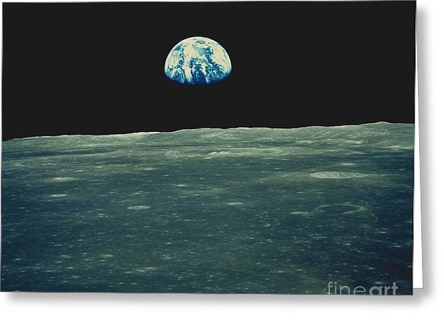 Apollo Program Greeting Cards - Earthrise Photographed From Apollo 11 Greeting Card by NASA / Science Source