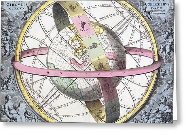 Macrocosmica Greeting Cards - Earths Celestial Circles, 1708 Artwork Greeting Card by Royal Astronomical Society