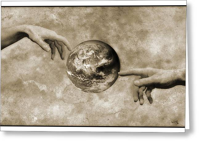 The Creation Of Adam Greeting Cards - Earths Creation Greeting Card by Detlev Van Ravenswaay