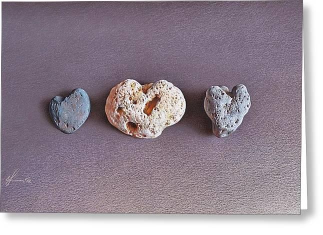 Earth's Hearts Greeting Card by Elena Kolotusha