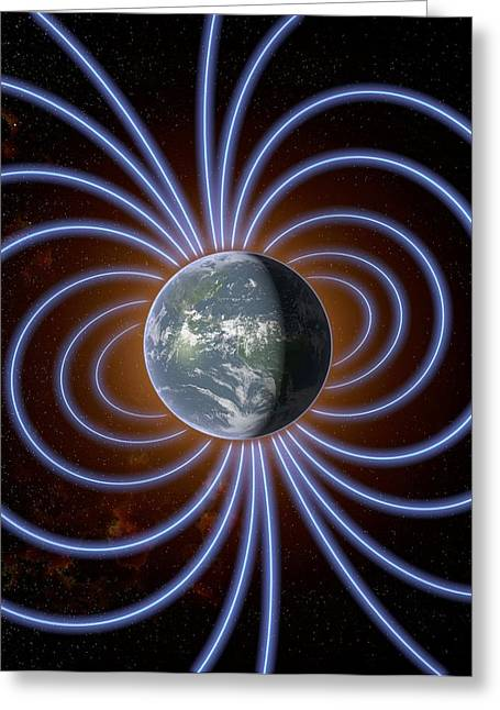 Earth's Magnetic Field Greeting Card by Roger Harris