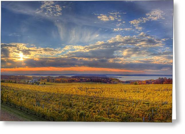 Traverse City Greeting Cards - East Bay from Old Mission Peninsula Greeting Card by Twenty Two North Photography