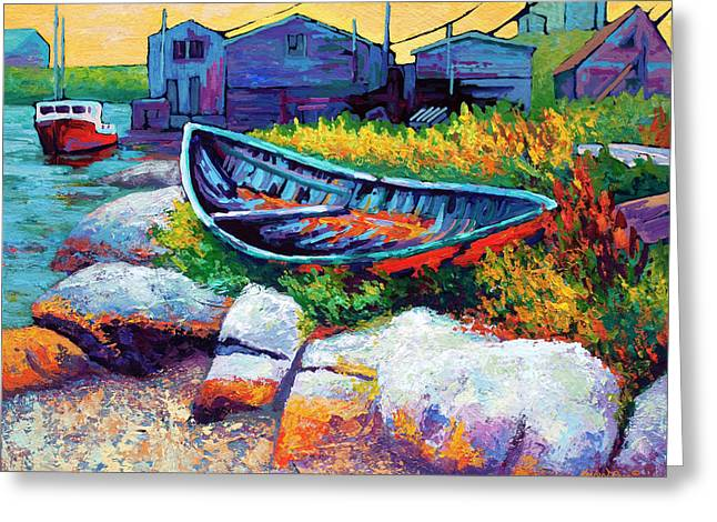 Wooden Greeting Cards - East Coast Boat Greeting Card by Marion Rose