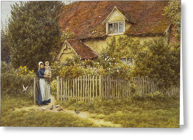 East Greeting Cards - East End Farm Moss Lane Pinner Greeting Card by Helen Allingham