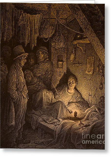 Dore Greeting Cards - East End Opium Den Greeting Card by Photo Researchers