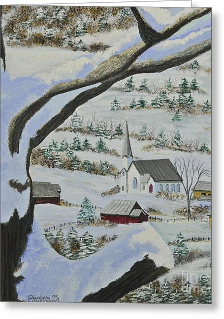 New England Snow Scene Greeting Cards - East Orange Vermont Greeting Card by Charlotte Blanchard