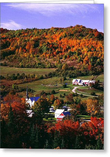 Vermont Village Greeting Cards - East Orange Village In Fall, Vermont Greeting Card by Bilderbuch