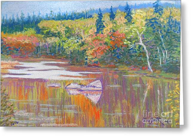 Fall River Scenes Pastels Greeting Cards - East River-fall scene Greeting Card by Rae  Smith PSC