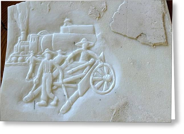 History Sculptures Greeting Cards - East to West relief on marble  Greeting Card by Debbi Chan