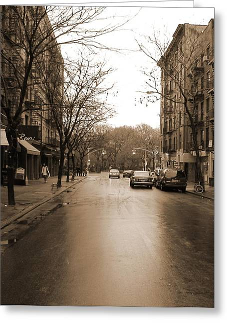 New York City Rain Greeting Cards - East Village In Winter Greeting Card by Utopia Concepts