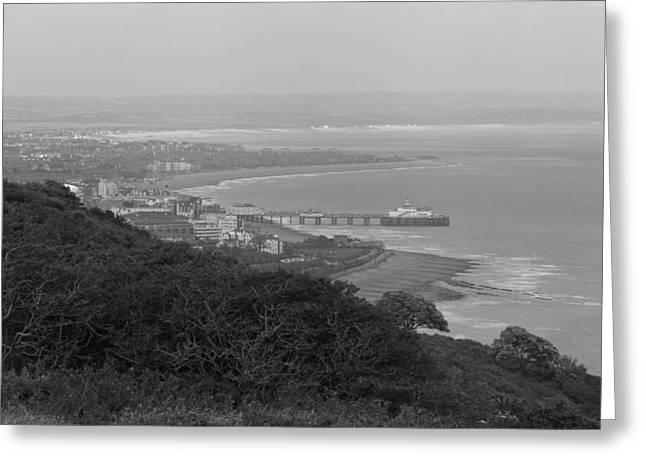 Vertigo Greeting Cards - Eastbourne Seafront Greeting Card by Maj Seda