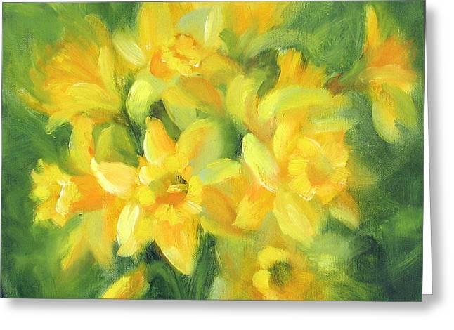 Easter Daffodils Greeting Card by Karin  Leonard