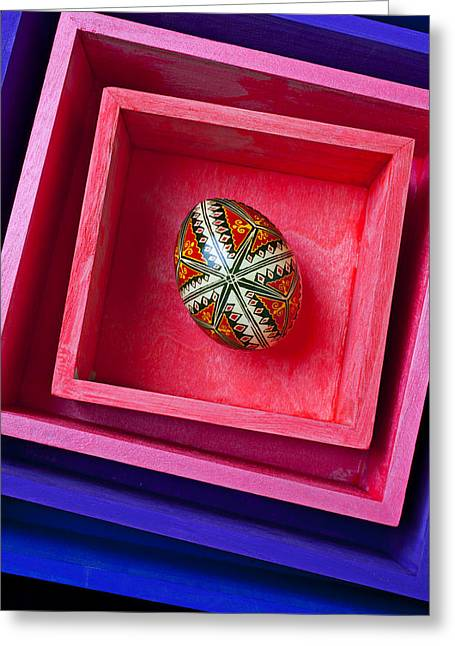 Insert Greeting Cards - Easter egg in pink box Greeting Card by Garry Gay