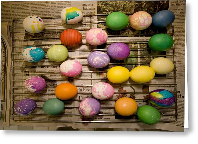Drying Rack Greeting Cards - Easter Eggs Drying On A Rack Greeting Card by Tim Laman
