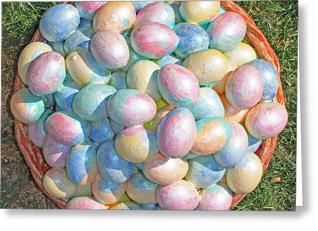 Egg Sculpture Greeting Cards - Easter  Eggs  For  Grandchildren  2012 Greeting Card by Carl Deaville