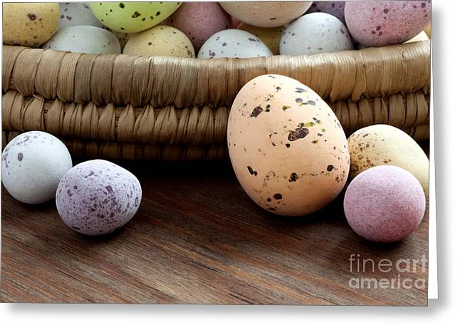 Small Basket Greeting Cards - Easter eggs in a wicker basket Greeting Card by Richard Thomas