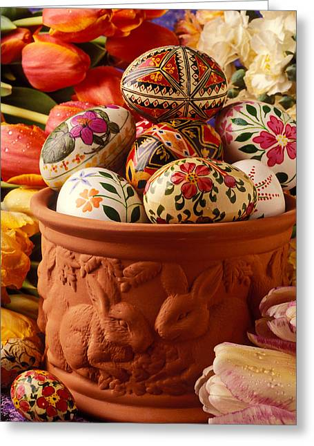 Easter Egg Greeting Cards - Easter eggs in flower pot Greeting Card by Garry Gay