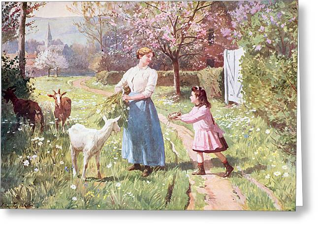 Country Landscapes Greeting Cards - Easter Eggs in the Country Greeting Card by Victor Gabriel Gilbert