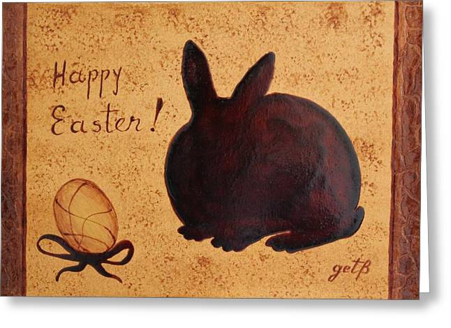 Golden Egg Greeting Cards - Easter Golden Egg and Chocolate Bunny Greeting Card by Georgeta  Blanaru
