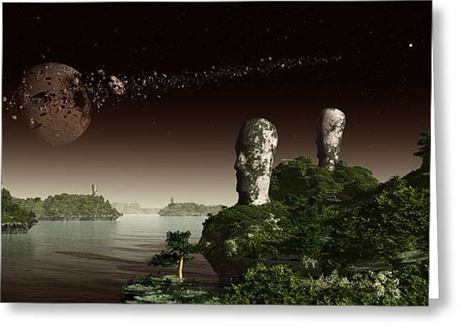 Island Imagination Greeting Cards - Easter Island Like Heads On An Alien Greeting Card by Frieso Hoevelkamp