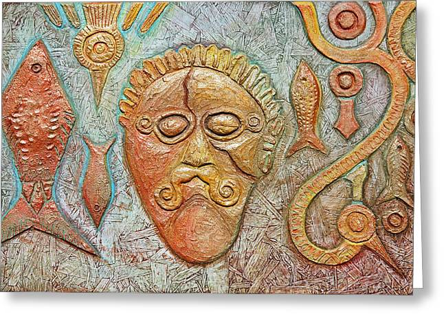 Ancient Reliefs Greeting Cards - Eastern European Celtic Warrior Chieftain Head Greeting Card by Zoran Peshich
