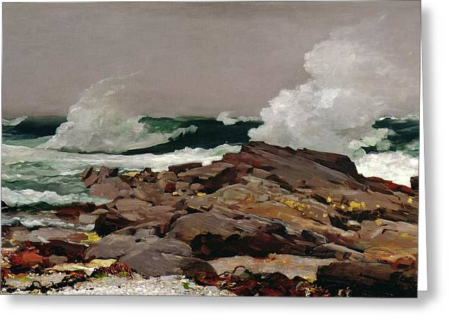 Rock Greeting Cards - Eastern Point Greeting Card by Winslow Homer