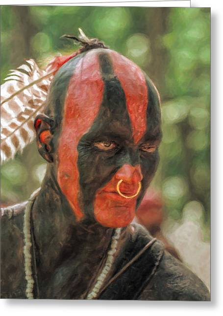 French And Indian War Greeting Cards - Eastern Woodland Indian Portrait Greeting Card by Randy Steele