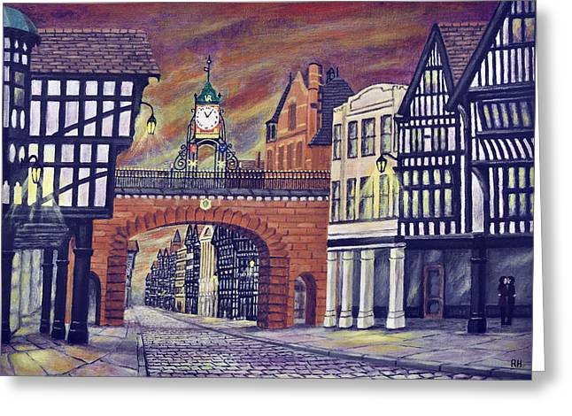 Eastgate Clock - Chester Greeting Card by Ronald Haber