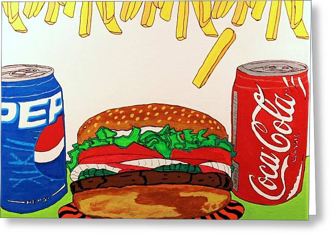French Fries Paintings Greeting Cards - Easy Choice Greeting Card by Raul Martinez