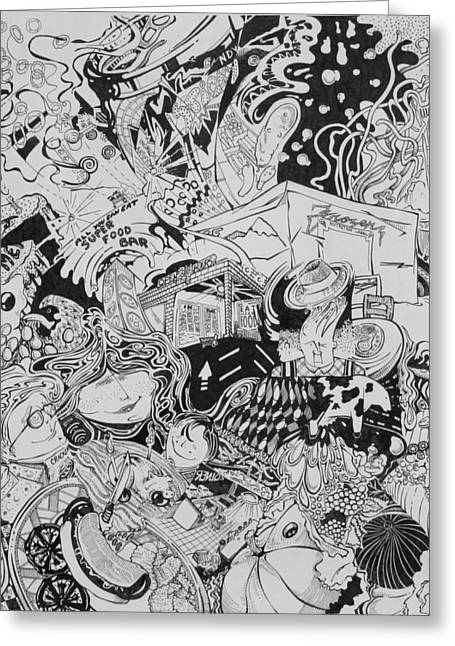 Wealth Drawings Greeting Cards - Eat drink and be merry Greeting Card by John Forker