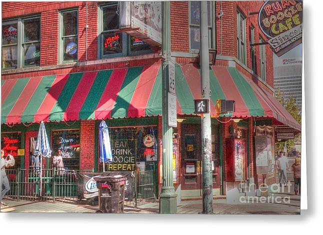 Beale Street Greeting Cards - Eat-Drink-Boogie-Repeat Greeting Card by David Bearden