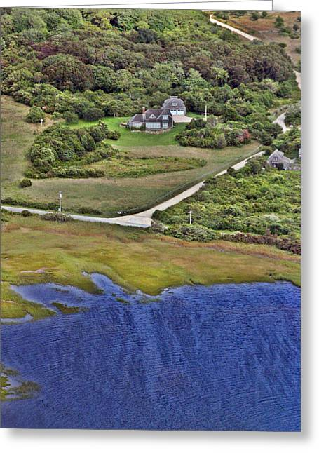Pearson Aerial Greeting Cards - Eat Fire Spring Road Polpis Nantucket Island  Greeting Card by Duncan Pearson
