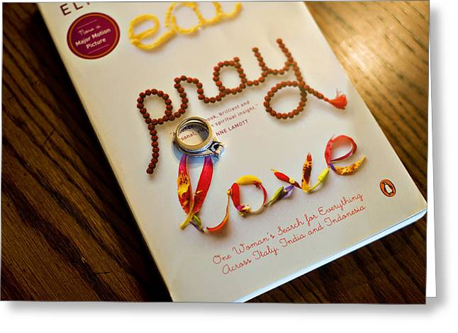 Content Learned Greeting Cards - Eat Pray Love Greeting Card by Malania Hammer