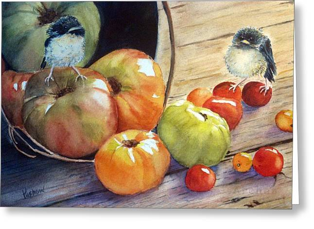 Baby Bird Paintings Greeting Cards - Eat your veggies Greeting Card by Patricia Pushaw