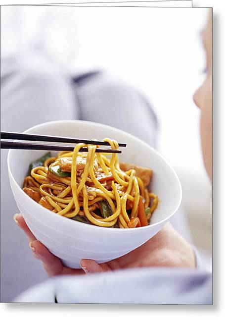 Noodles Greeting Cards - Eating A Chinese Meal Greeting Card by David Munns