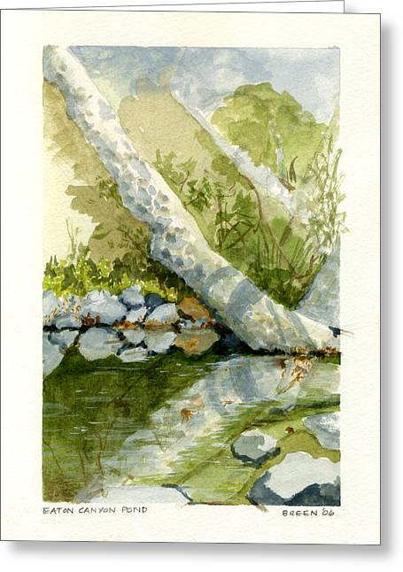 Best Sellers -  - Trees Reflecting In Water Greeting Cards - Eaton Canyon Pond Greeting Card by Libby Breen