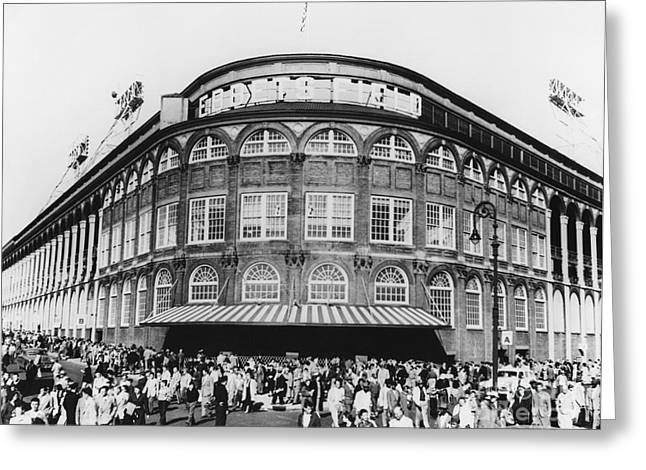 Brooklyn Dodgers Stadium Greeting Cards - Ebbets Field, Brooklyn, Nyc Greeting Card by Photo Researchers