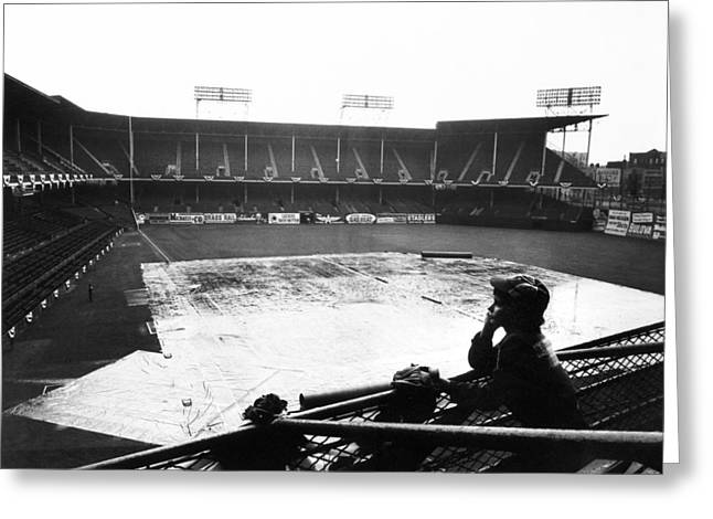 Brooklyn Dodgers Stadium Greeting Cards - EBBETS FIELD, c1950 Greeting Card by Granger