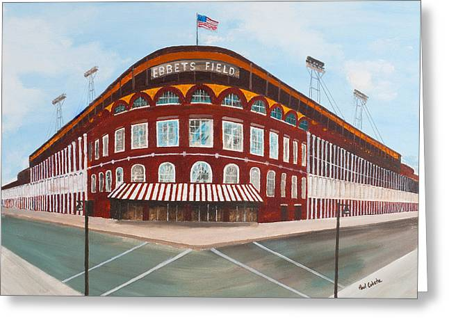 Ebbets Greeting Cards - Ebbets Field Greeting Card by Paul Cubeta