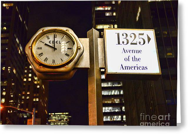 Clockmaker Greeting Cards - Ebel Street clock in NYC Greeting Card by Paul Ward
