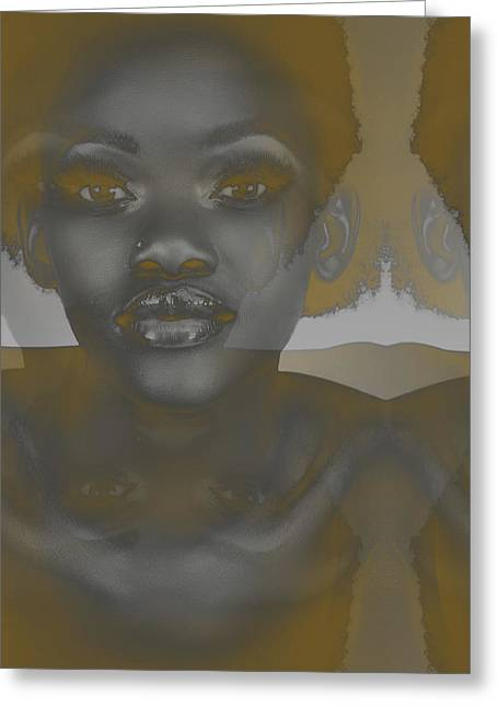 African Woman Greeting Cards - Ebony Greeting Card by Naxart Studio