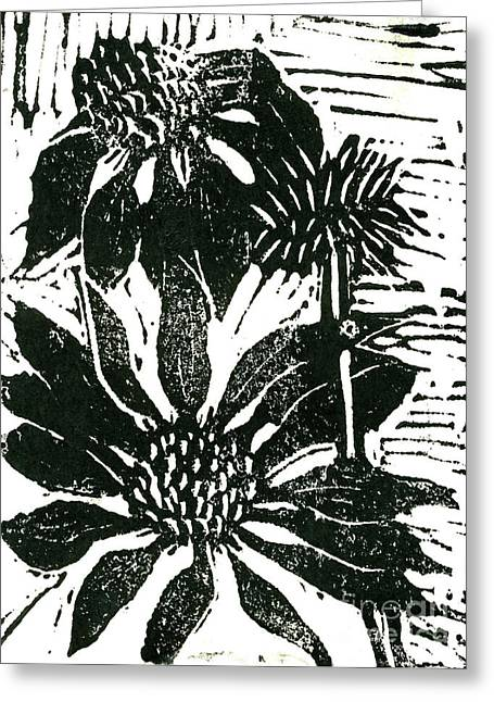 Linoleum Print Mixed Media Greeting Cards - Echinacea block print Greeting Card by Ellen Miffitt