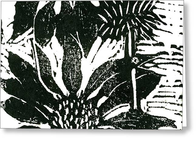 Echinacea block print Greeting Card by Ellen Miffitt