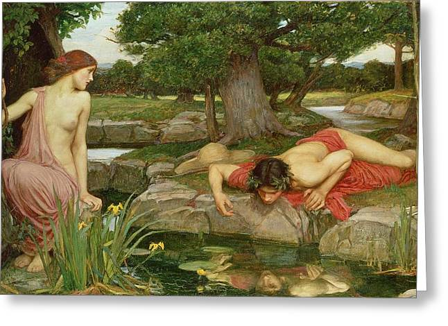 Pond Paintings Greeting Cards - Echo and Narcissus Greeting Card by John William Waterhouse