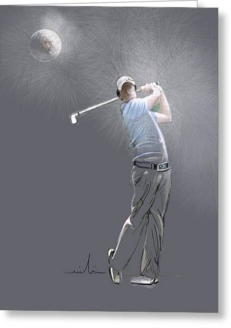 Us Open Golf Drawings Greeting Cards - Eclipse Greeting Card by Miki De Goodaboom