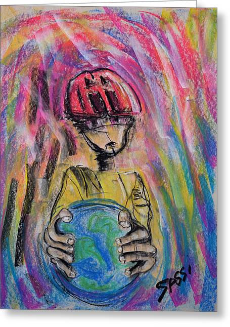 Planet Earth Pastels Greeting Cards - Eco Friend Greeting Card by Robert M Sassi