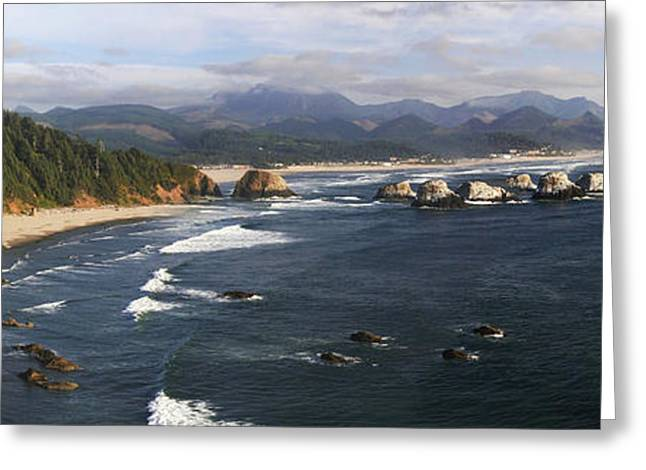 Panoramic Ocean Greeting Cards - Ecola Vista Greeting Card by Winston Rockwell
