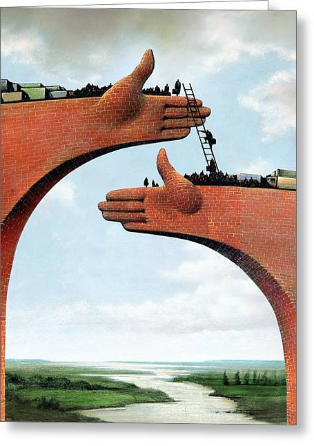 21st Greeting Cards - Economic Migration, Conceptual Image Greeting Card by Smetek